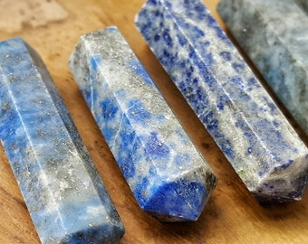 Lapis Lazuli Double Terminated Point  - Hand Cut Natural Stone Point for Crystal Grids or Terrarium 248