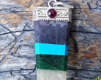 7 Chakra Crystal Pendant With Garnet Stone-  stone jewelry - 796