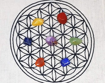 7 Chakra Crystal Tumbled Stones and Flower of Life Grid Set  -