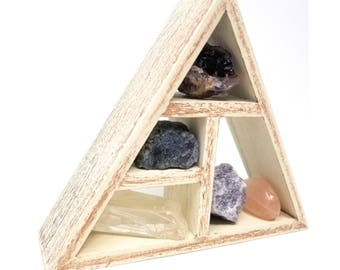ANXIETY Crystal Healing Set  / Stress relief Gem Stones and Geometric Holder Stand in Gift Box /  grounding worry anxiety relief ~ 06