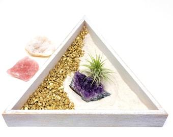 8 pcs Air Plant Crystal Zen Garden Kit   INCLUDES 3 Natural Crystal Healing stones, Rose Quartz, Amethyst Cluster, Crystal Geode