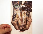 Tattoo Hand Art Print - Male Hands - Sensual Body Art - Bedroom Art - Rachel Schafer Art