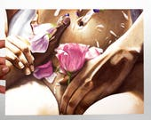 Hand Art Print - Flowers - Feminine - Sensual Body Art - Love Art - Dorm Art - Bedroom Art - Rachel Schafer Art