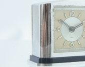 Art Deco JAZ alarm clock, 1936, chrome blue bakelite, French clock, for display and or repair, original JOLIC model