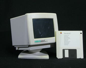 Floppy disk holder, floppy disk storage in the shape of a PC / personal computer, 1990s, desk storage, computer geek, PC lover