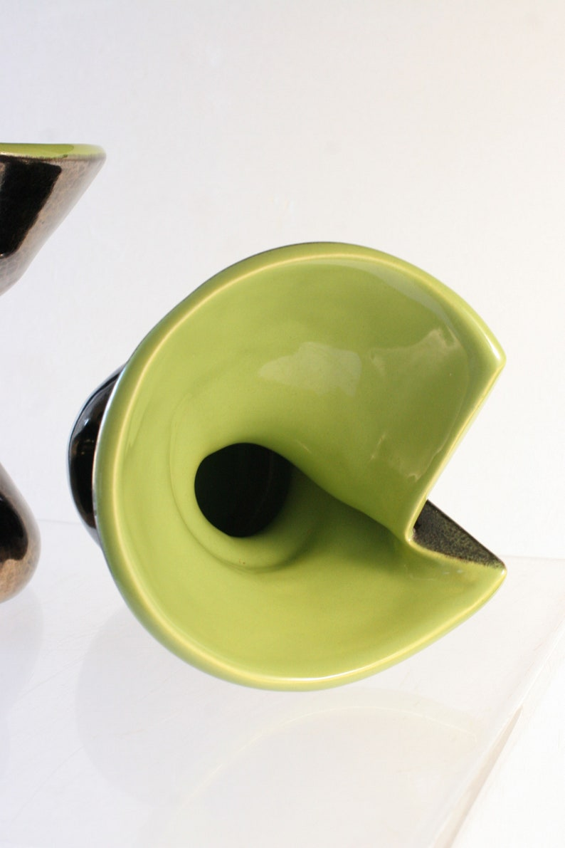 Pair of free form vases Atelier Ceramidi 1950s to 60 French irisdescent black /& green crackled glaze vases signed