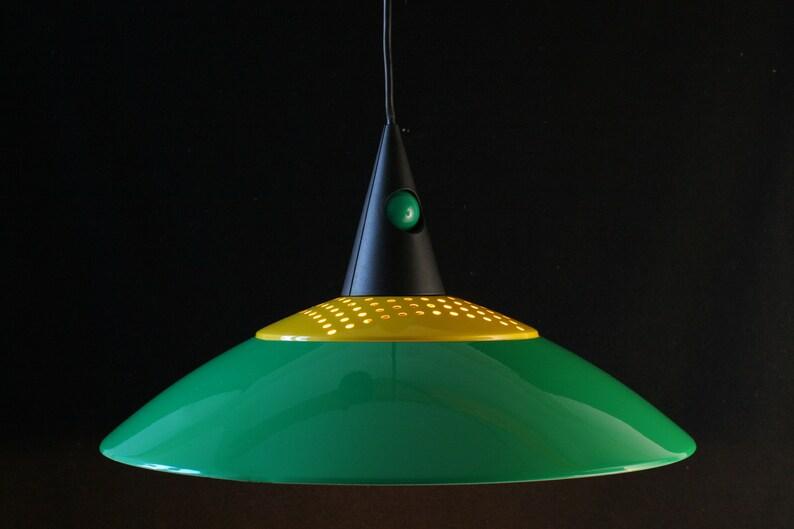green Postmodern lighting Hanging lamp shade Memphis Design era 1980s yellow /& black geometric pendant shade