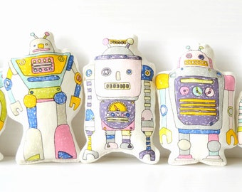 EIGHT 8 ROBOTS Сollection of robots Robot plush toy Stuffed robot toys Boys bedroom decor Gift for Boy  Baby Boy Gift  Soft toy robot cotton