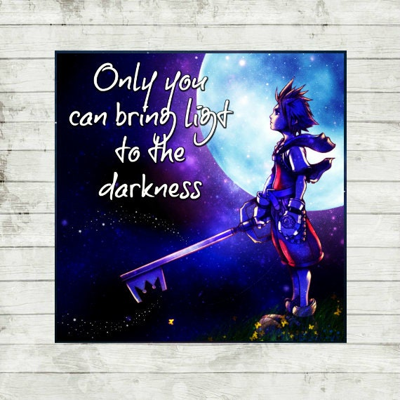 Kingdom Hearts gaming room, watercolour and digital quote print, Kingdom  Hearts poster, fan art, Sora painting, Sora quote painting 30x30cm