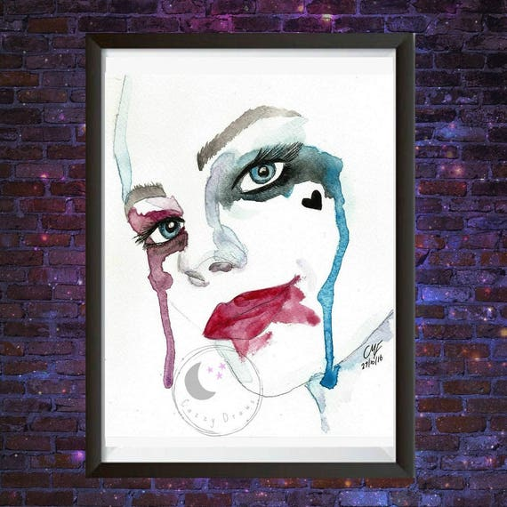 Harley Quinn original watercolour painting Joker watercolour | Etsy