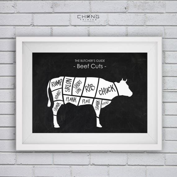 Beef Cuts Posterbutcher Diagrambeef Printbeef Chartbeef Etsy