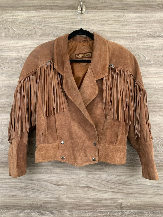 Vintage Rock Creek western brown suede fringe jack