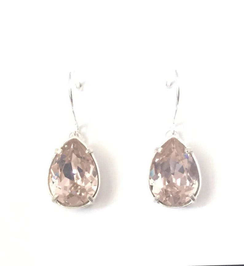 644cb65f8c094 Sterling silver crystal earrings, Australian seller, womens gift, silver  crystal drops, under 50, bridesmaid gift, antique rose drops
