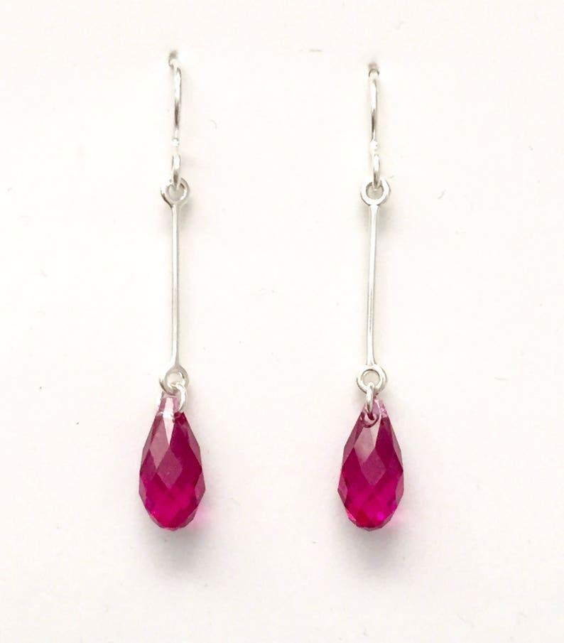 9525062db36ff Sterling silver earrings, silver crystal drops, ruby drops, Australian  shop, delicate silver earring, fuchsia pink earring, long earring