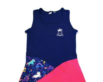 CAMI-scrap (camisole, tank top) for women Navy Blue, pink and white Unicorn