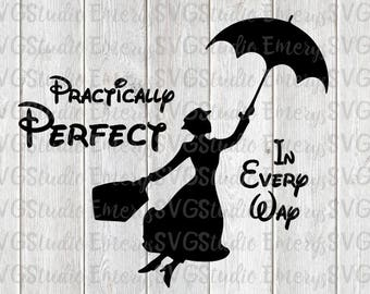 SVG DXF File Mary Poppins - Practically Perfect