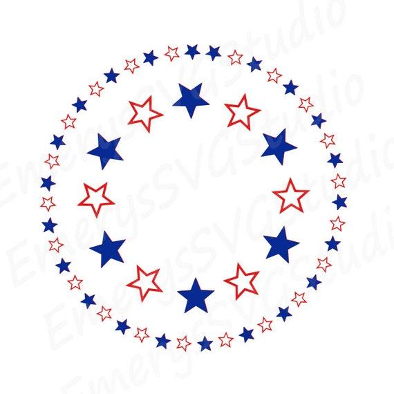 SVG File for Circle Monogram USA Star Frame