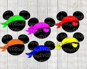 SVG DXF File for Pirate Mickey and Minnie with Bandana