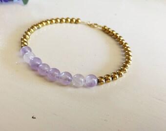 Fluorite and hematite bracelet, fluorite jewelry, precious fluorite gemstone