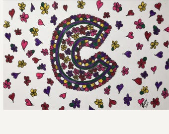 "Handmade ""C"" folded greeting 5 card set"