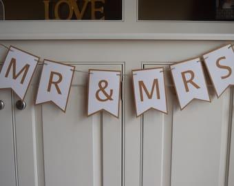 Mr & Mrs Banner, Engagement Banner, Bridal Shower Banner, She Said Yes Banner, Wedding Reception Decor, Sweetheart Table, Wedding Banners