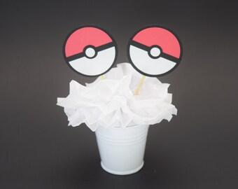 Pokemon Cupcake Topper, Pokemon Decoration, Pokemon Party, Pokemon Topper, Pokemon Go Party