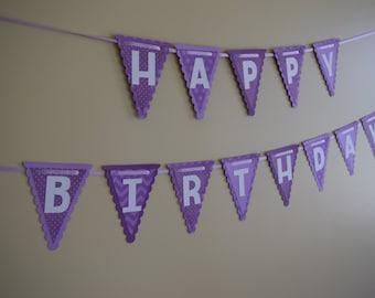 Birthday Banner, Happy Birthday Banner, Purple Banner, Purple Birthday Banner, Birthday decorations