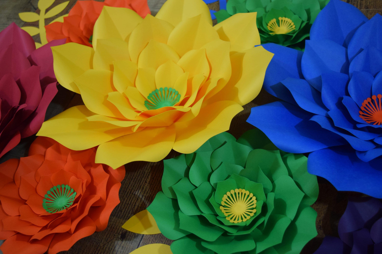 10 Piece Rainbow Paper Flower Set, Paper Flower Wall Decor, Paper ...