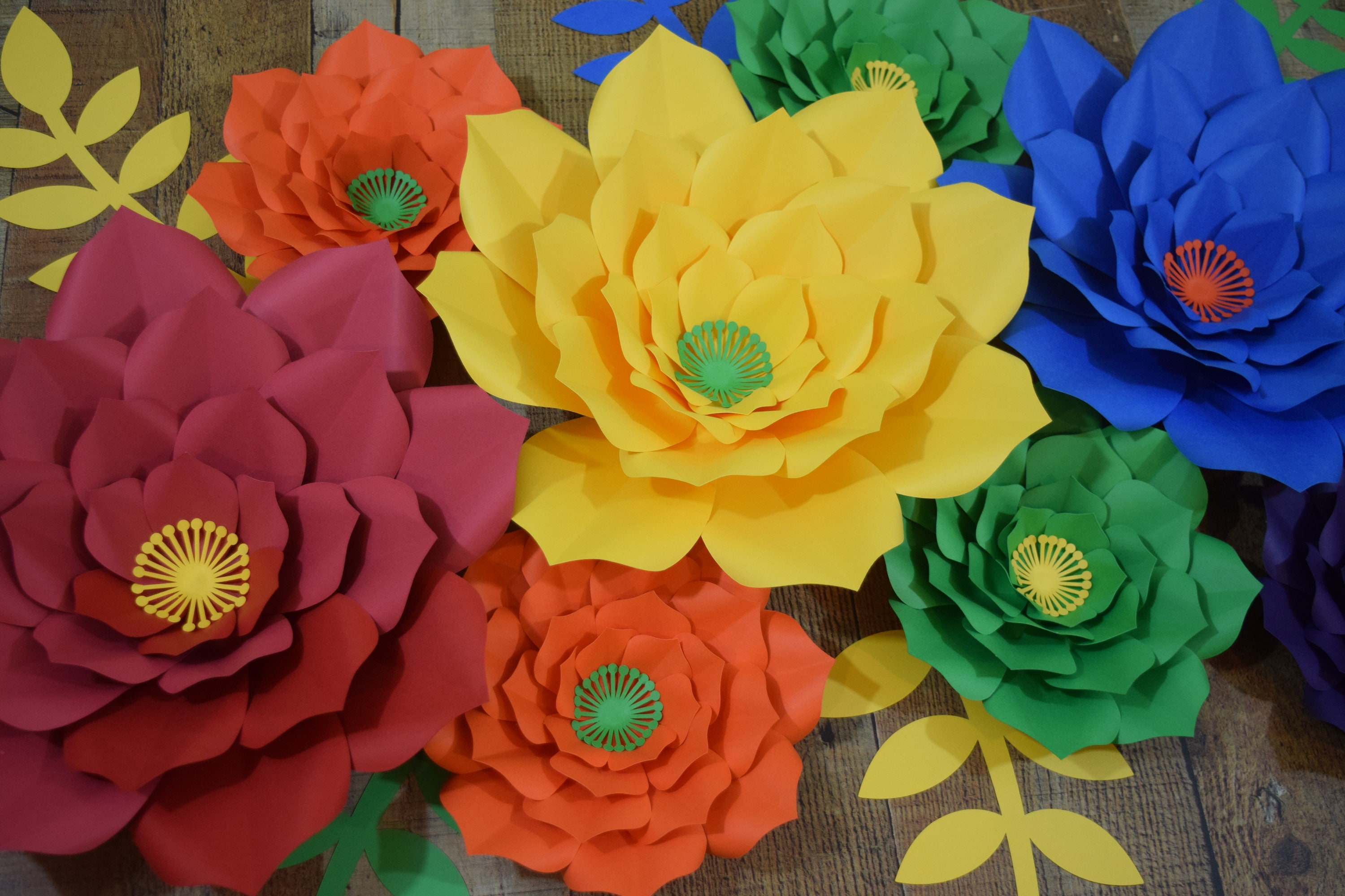 10 Piece Rainbow Paper Flower Set, Paper Flower Wall Decor, Paper ...