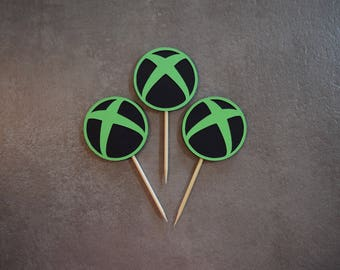 Xbox Topper, Xbox Birthday Topper, Xbox Decoration, Xbox Decor, Personalized Xbox Topper, Cupcake Topper, Video Game Cupcake Topper, Gamer