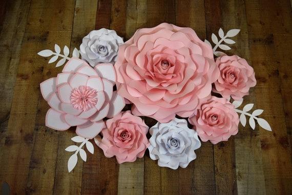 ANY COLOR 7 Piece Paper Flower Set Party Decor Nursery Decor Wedding Decor Paper Flower Backdrop Paper Flower Wall Decor Custom Flower