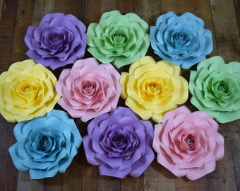 10 Piece Rainbow Paper Flower Set, Paper Flower Wall Decor, Paper Flower Backdrop, Nursery Decor, Party Decor, Wedding Decor, Custom Flower