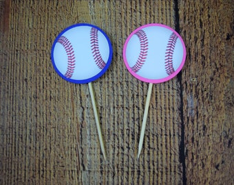 ANYCOLOR Cupcake Topper, MLB Cupcake Topper, MLB Baby Shower, Baseball Cupcake Topper, Baseball Baby Shower, Baseball Decoration, He or She