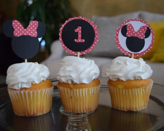 Minnie Mouse cupcake toppers, Mickey Mouse cupcake toppers, Disney cupcake topper, Minnie Mouse party decoration, Minnie Mouse Birthday