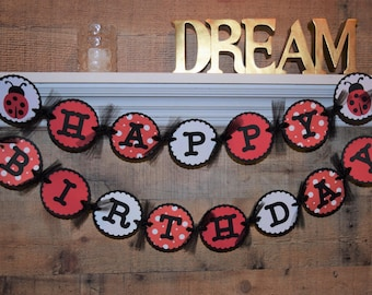 Lady Bug Happy Birthday Banner, Happy Birthday Banner, Lady Bug Banner, Lady Bug Birthday, Lady Bug Decor