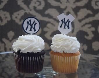 Yankees Cupcake Topper, MLB Cupcake Topper, MLB Baby Shower, NY Yankees Baby Shower, New York Yankees Decoration, New York Yankees Party