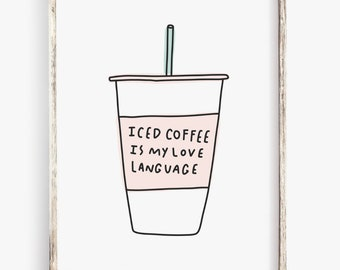 Iced coffee quote | Etsy