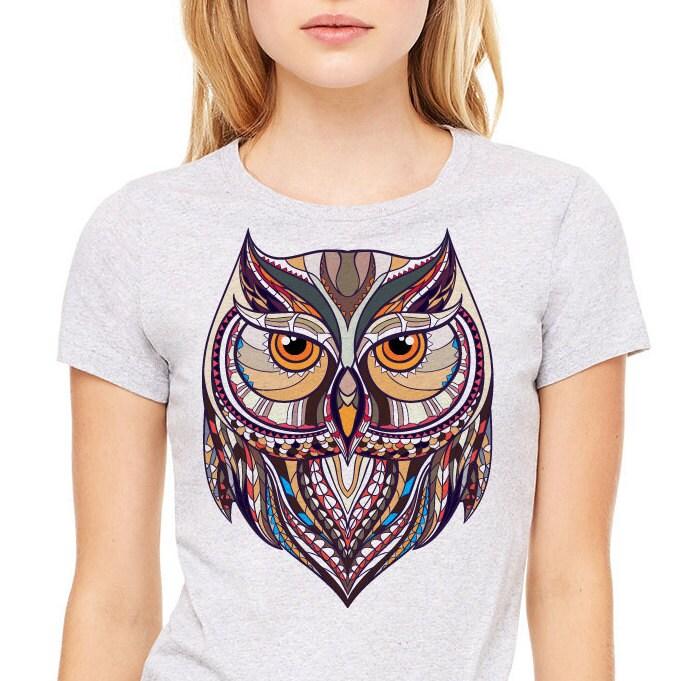 T-shirt Graphic Owl Premium Heather Women/'s Grey
