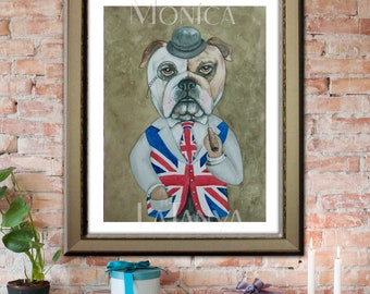 """British Bulldog Art PRINT. with traditional union jack costume and cigar Signed Art 8 x 10 or 12 x 16"""""""