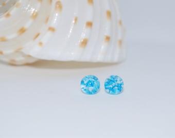 Blue Skies Handmade Lampworked Glass Stud Earrings