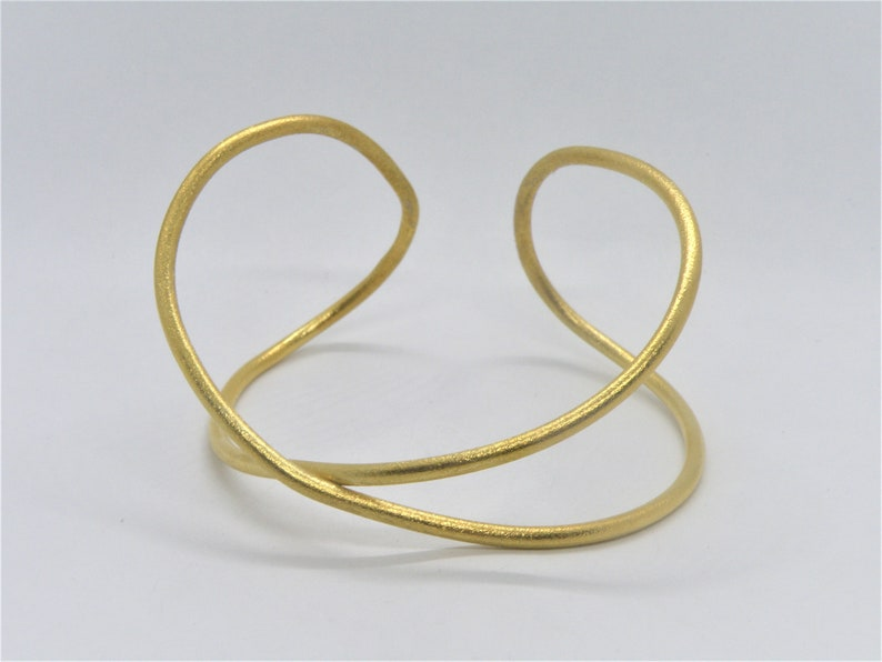 Cuff Gold Plated Sterling Silver,infinity motif,adjustable size,Alexia Jewelry,handmade cuff,unisex adults,minimal design,x mark,silver cuff