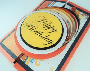 Handmade card, Shutter card, Quilled card, Fold out card, Greeting card, Thank you card, Birthday card, Anniversary card, Orange card