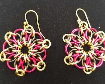 Red and Gold  Celtic Sunburst Chainmaille Earring