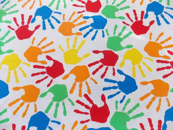 Handprint Fabric Rainbow Handprints Kindergarten Fabric Etsy