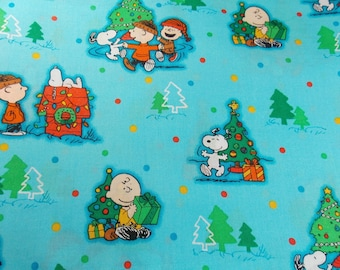 Christmas Fabric Holiday Fabric Charlie Brown Christmas Snoopy Fabric Peanuts Fabric Linus Lucy Quilting Fabric Craft Fabric Cotton Fabric