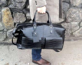 Black bag sport bag men bag reptile bag big leather bag travel bag large bag duffel bag original bag luggage bag classic bag business bag
