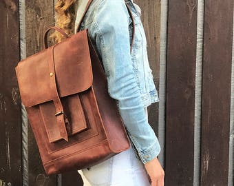 Brown backpack leather backpack woman backpack travel backpack men backpack big backpack large backpack city backpack handmade backpack