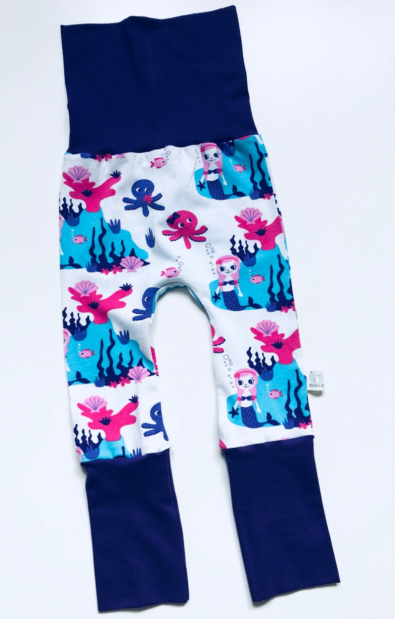 Mermaid Leggings Kids Maxaloones Baby Grow With Me Pants Mermaid Clothes | Organic Jersey Mermaid And Octopus Grow With Me Pants