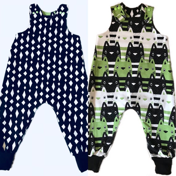 be2408bdb4ef Organic Reversible Baby and Kids Green Black and White Cat and