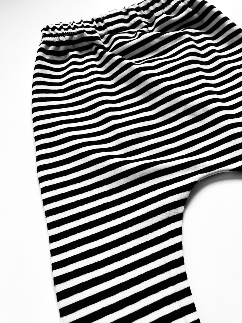 READY TO SHIP Gift | Age 12-18 Months Organic Baby Harem Stripe Leggings Slim Harem Leggings Age 3-4 Years Cuff Toddler Leggings